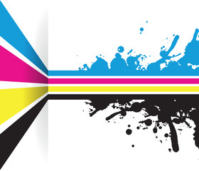 a splash cmyk line arrow line background