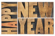 happy new year in wood type