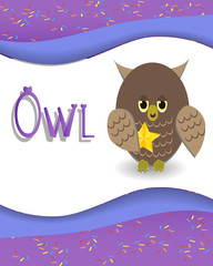 Animal alphabet owl with a colored background