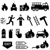 Fire related icon set