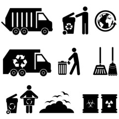 Trash, recycle and garbage icons