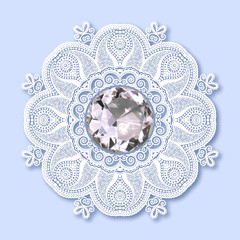 christmas snowflake decoration with diamond jewel