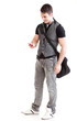 Full length portrait school boy phone isolated