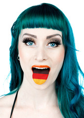 woman with tongue in shape of german flag
