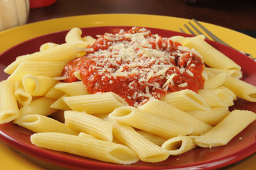 Penne rigate with marinara sauce