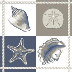 Conchas e estrelas Azul