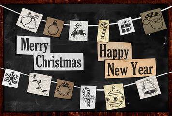 Hanging Christmas greeting on paper ornament