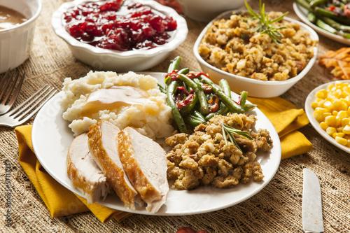 Homemade Turkey Thanksgiving Dinner - 57113937