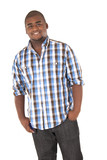 Happy African American young man in plaid shirt casual