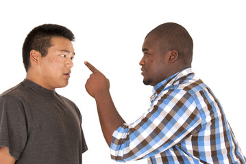 African American Asian brothers having an arguement