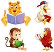 Four animals reading