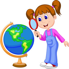 Cartoon girl using magnifying glass looking at globe