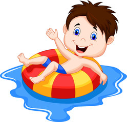 Boy floating on an inflatable circle in the pool