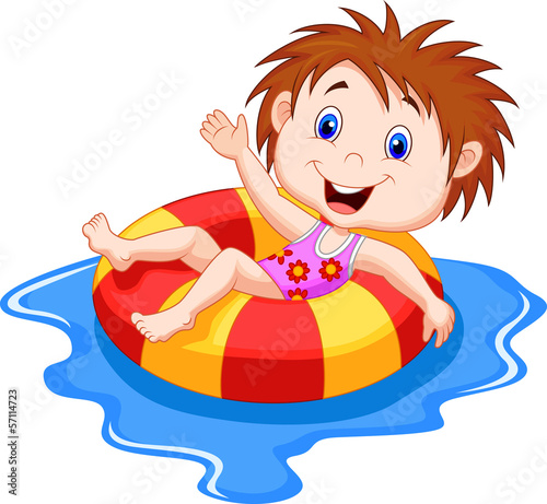 Girl floating on an inflatable circle in the pool