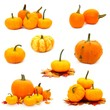 Various arrangements of autumn pumpkins individually isolated