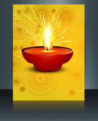 illustration of burning diwali diya template reflection vector