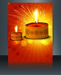 Happy diwali Brochure vector illustration template design