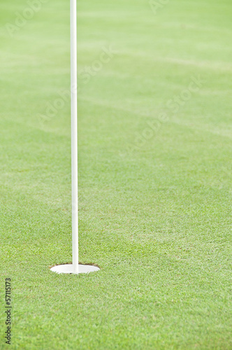 Golf hole with flag stick.