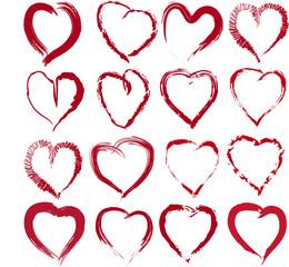 векторный набор рисаваных сердец