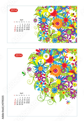 Floral calendar 2014, april. Design for two size of paper