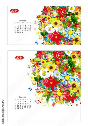 Floral calendar 2014, december. Design for two size of paper