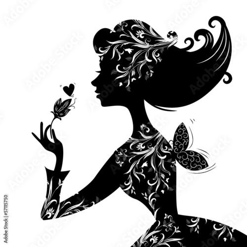 Foto op Canvas Bloemen vrouw Silhouette of a beautiful stylish woman