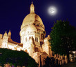 Sacre Coeur Cathedral on Montmartre Hill at Dusk, Paris