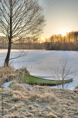 The green ice filled boat