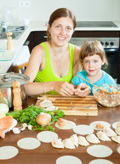 mother with daughter making fish dumplings in a home large kitch