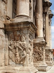 Base bas relief and columns of Arch of Constantine