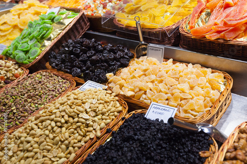 candied fruit and peanuts on  counter