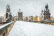 Snow Covered Charles Bridge in Prague
