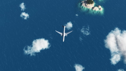 HD - Airplane over the sea
