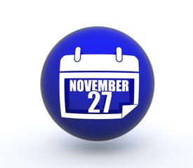 calendar sphere icon on white background