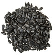 top view of pile of black roasted sunflower seeds
