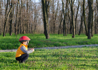 Little boy playing outdoors in woodland