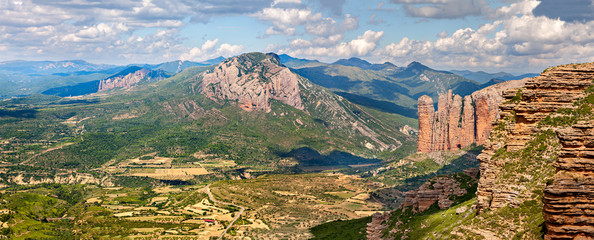 Mallos of Riglos panorama in Huesca, Spain