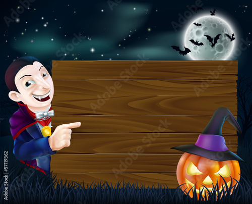 Halloween Dracula wooden sign