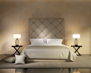Luxury contemporary beige bedroom with buttoned bed