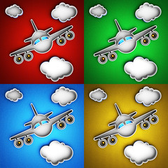 Set of airplane icons