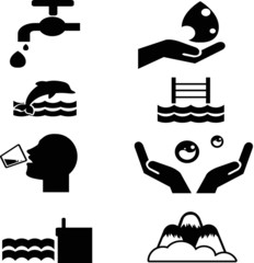 water icon collection created in vector format