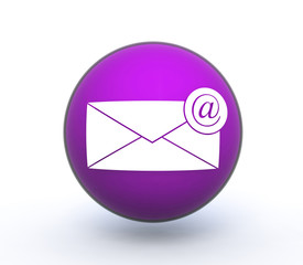 email sphere icon on white background