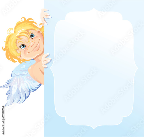 Cute angel peeking round from behind  frame. Valentines Day card