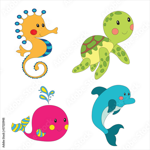 Set of cartoon sea creatures