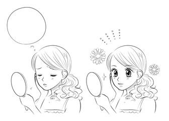 顔、肌の悩み スキンケア 少女漫画風