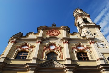 Baroque church on blue sky, Crema town, Lombardy, Italy