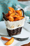 potatoes with spices in a basket