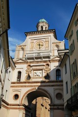 Clock arch entrance to cathedral square, Crema, Lombardy, Italy