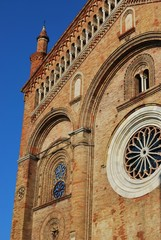 Romanesque cathedral facade detail, Crema, Lombardy, Italy