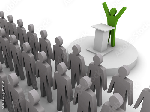 Leader speaking to crowd. Concept 3D illustration.